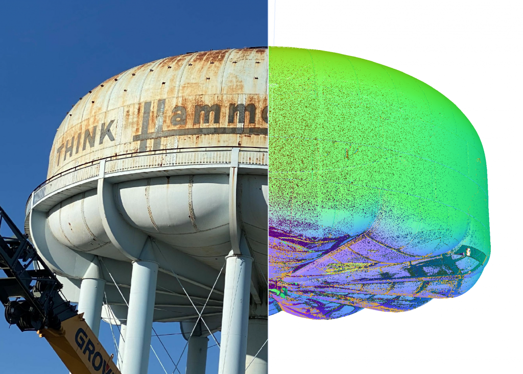 Morrison Construction, 3D scanning project, Hammond IN water tower, 50/50 scan
